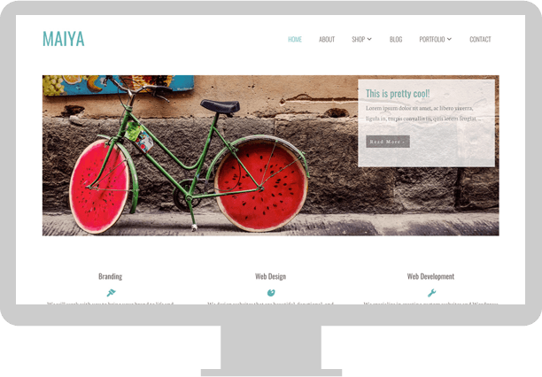 Maiya custom WordPress Genesis child theme desktop screen demo