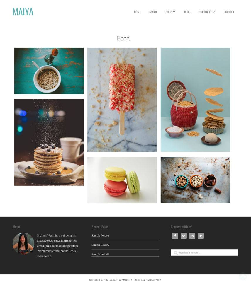 Maiya Theme - Single portfolio | by Wenmin Chen, Boston freelance web developer & designer