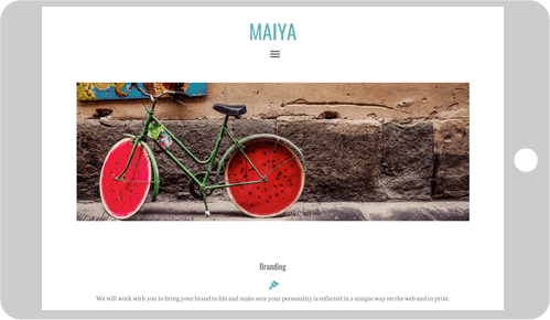 Maiya custom WordPress Genesis child theme tablet screen demo