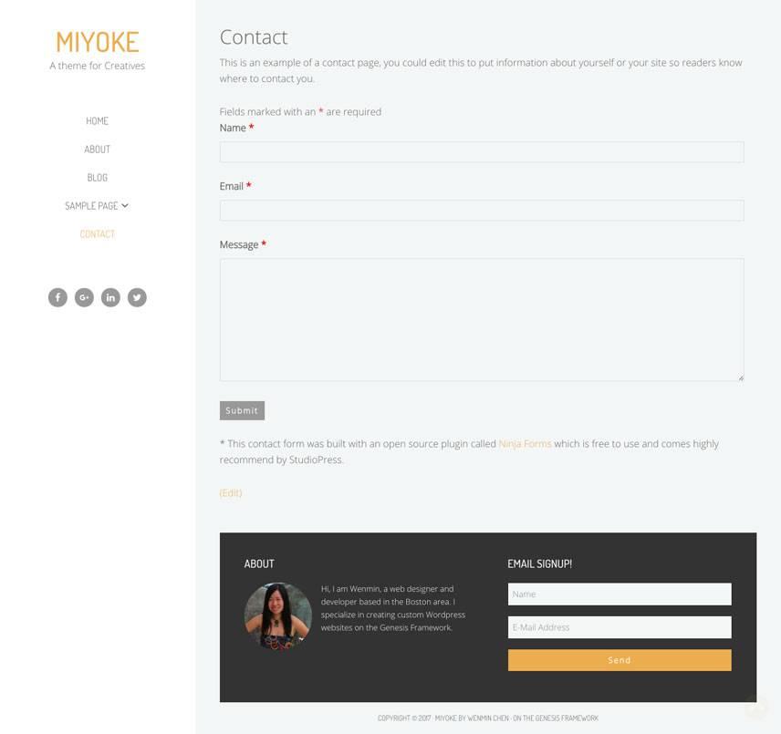 Miyoke Theme - Contact | by Wenmin Chen, Boston freelance web developer & designer