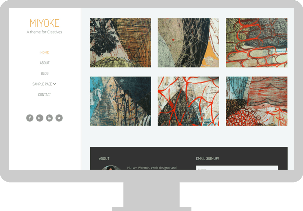 Miyoke custom WordPress Genesis child theme desktop screen demo