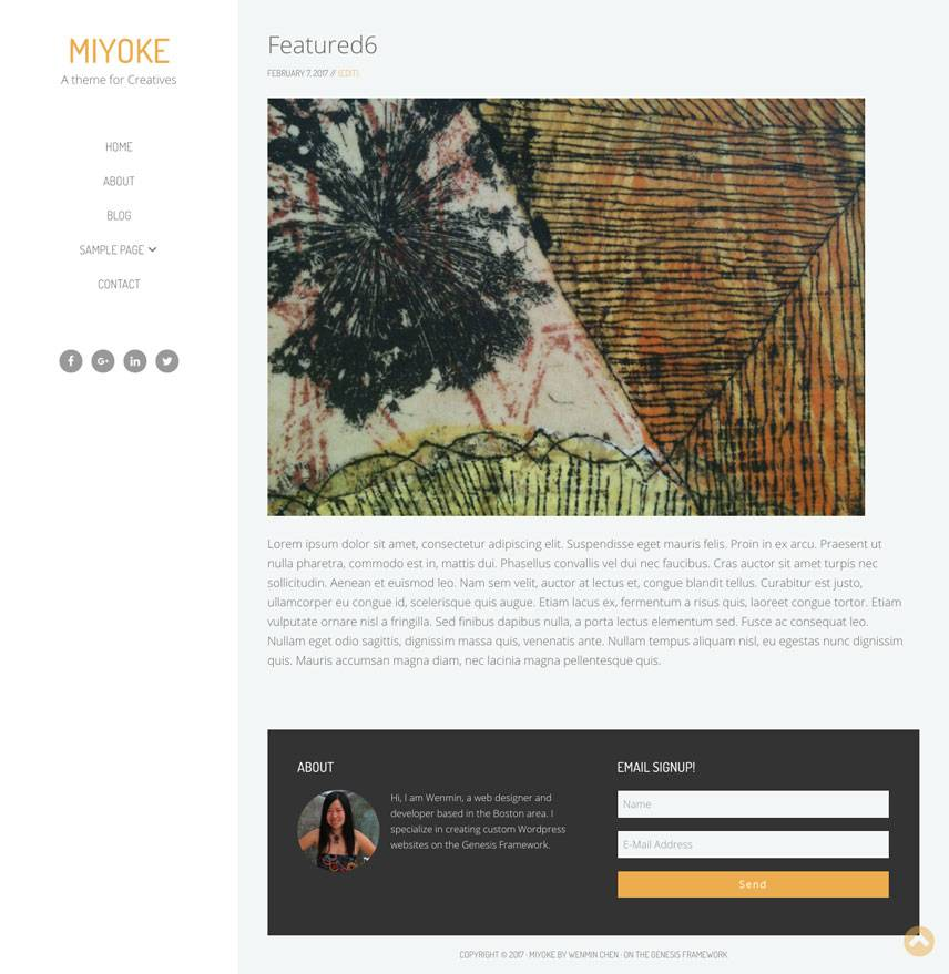 Miyoke Theme - Single portfolio | by Wenmin Chen, Boston freelance web developer & designer