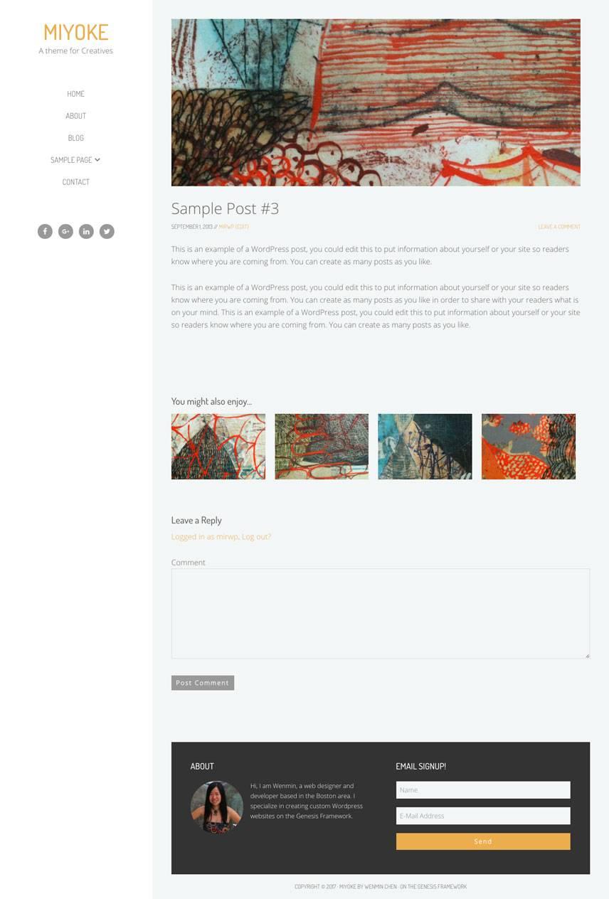 Miyoke Theme - Single post | by Wenmin Chen, Boston freelance web developer & designer