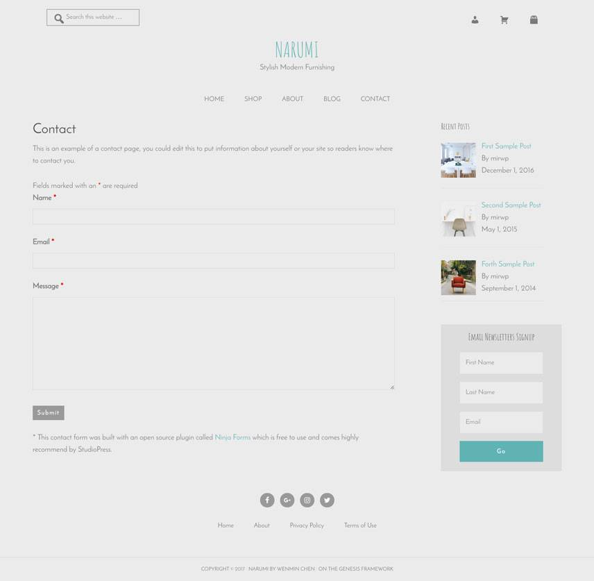 Narumi Theme - Contact | by Wenmin Chen, Boston freelance web developer & designer