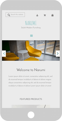 Narumi custom WordPress Genesis child theme phone screen demo