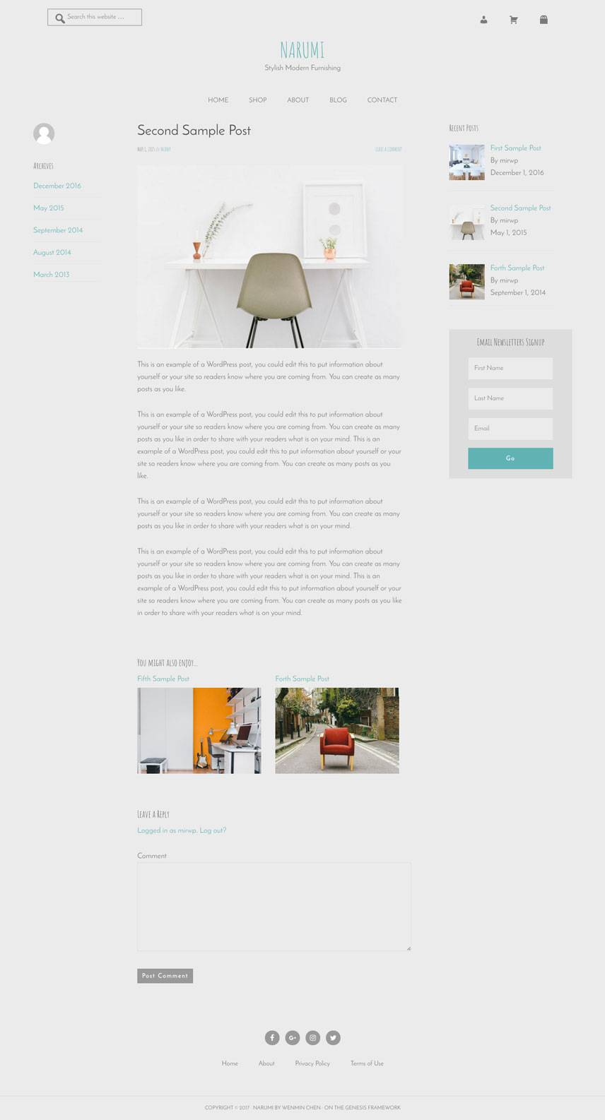 Narumi Theme - Single post | by Wenmin Chen, Boston freelance web developer & designer