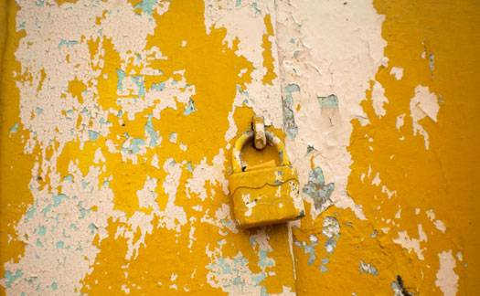 A lock on the door representing secruity