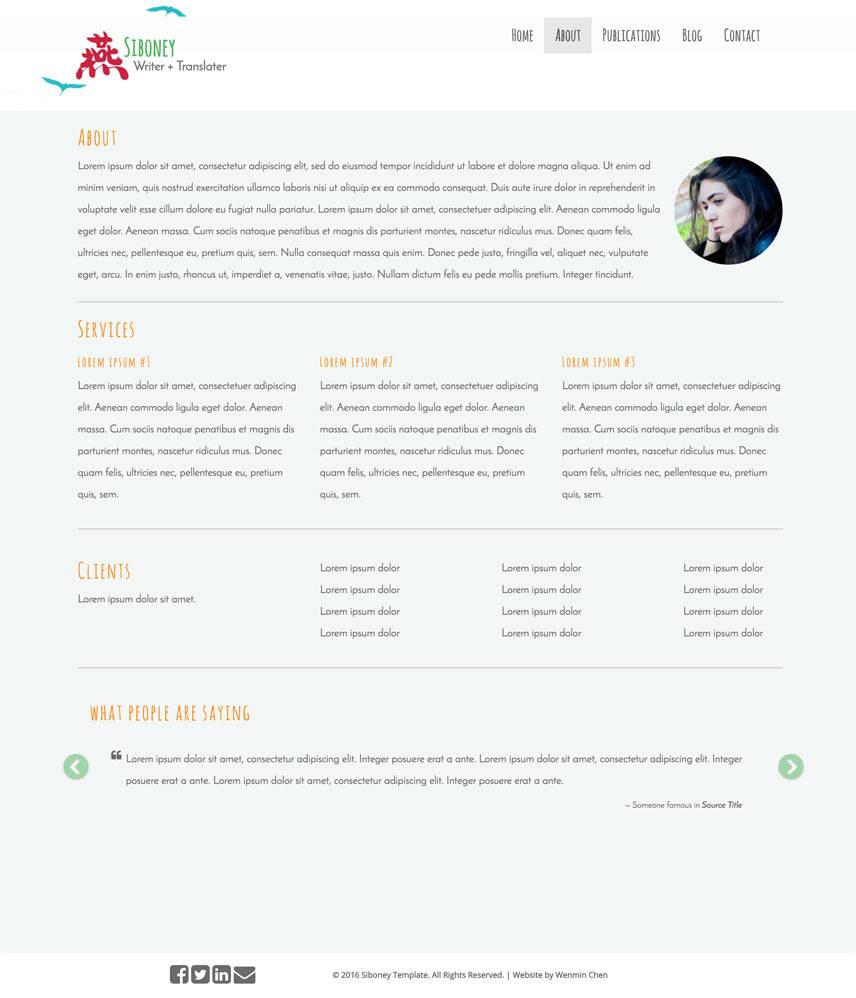Siboney Theme - About | by Wenmin Chen, Boston freelance web developer & designer
