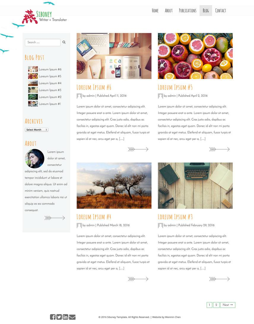 Siboney Theme - Blog | by Wenmin Chen, Boston freelance web developer & designer