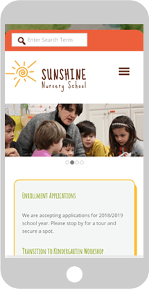 Sunshine Nursery School phone screen demo